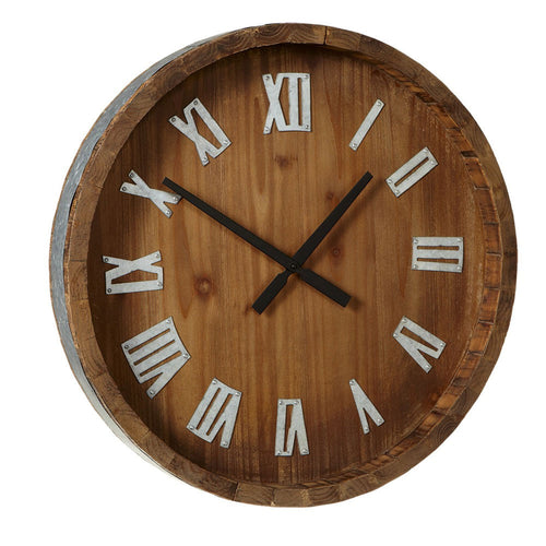 Midwest-CBK Wine Barrel Wall Clock with Galvanized Numbers