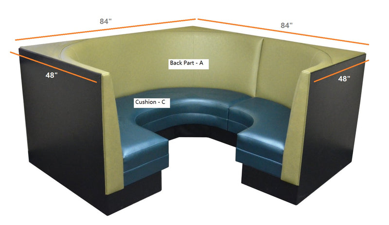 "Plain Back Corner Booth $1850.00/42""Hx22'L"