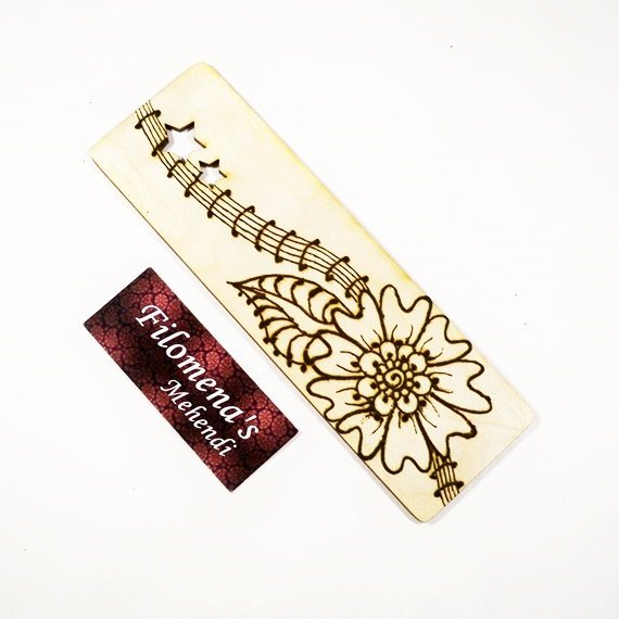 Gift for book lover, Page Marker, Made with love, Book Accessories, Silk tassel bookmark, Book lover gift, Henna bookmark, Wood bookmark