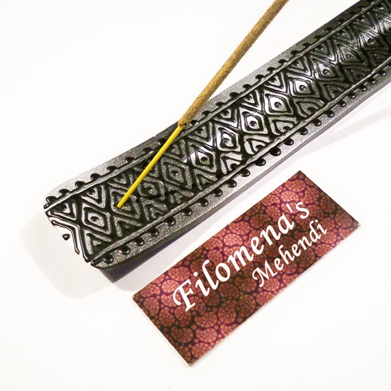 Yoga gifts, Incense stick holder, Moroccan, Wood Incense Burner, Hippie decor, Morocco, Altar, Silver and black, Boho decor, Moroccan decor