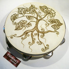 Henna tambourine, Gypsy drum, Henna mandala, Henna tattoo, Henna drum, Tree of life art, Chocolate brown, Mehndi, Instrument, Tree of life