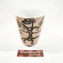 Henna on mug, Henna coffee mug, Boho floral, Tribal design, Handpainted vine, Eco friendly gift, Coffee kitchen, Coffee table decor