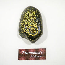 Paisley stone, Paisley stones, Black gold, Golden black, Decorated pebble, Paisley painting, Paisley design, Painted rocks, Painted stones