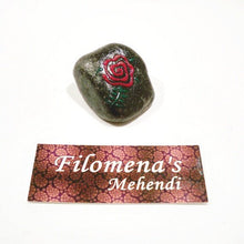 Stocking stuffer, Pink rose, Red rose stone, Black stone, Floral design, Henna stone, Flower stone, Pink rose stone, Pocket stone