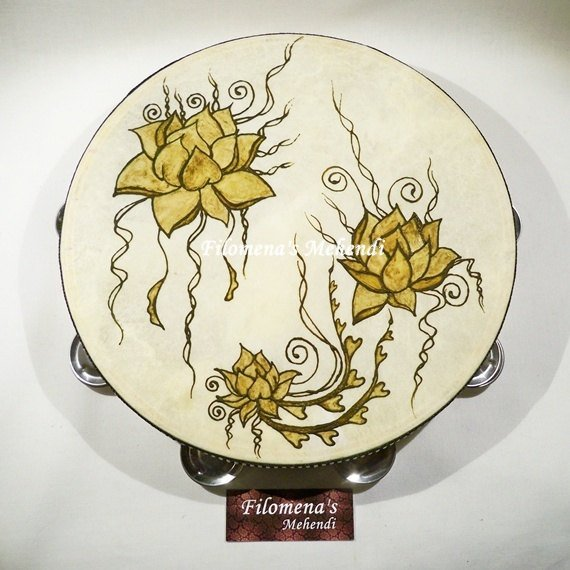 Lotus flower, Henna drum, Henna tambourine, Gypsy drum, Boho home decor, Belly dance, Natural art, Organic Henna, Henna art, Wood instrument