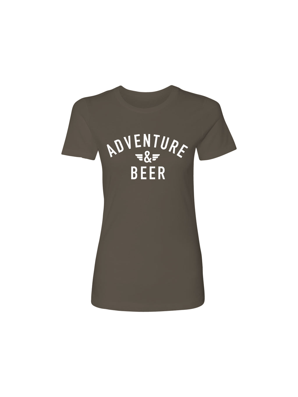 ADVENTURE AND BEER WOMEN TEE- BROWN - Anderson Bros Design and Supply