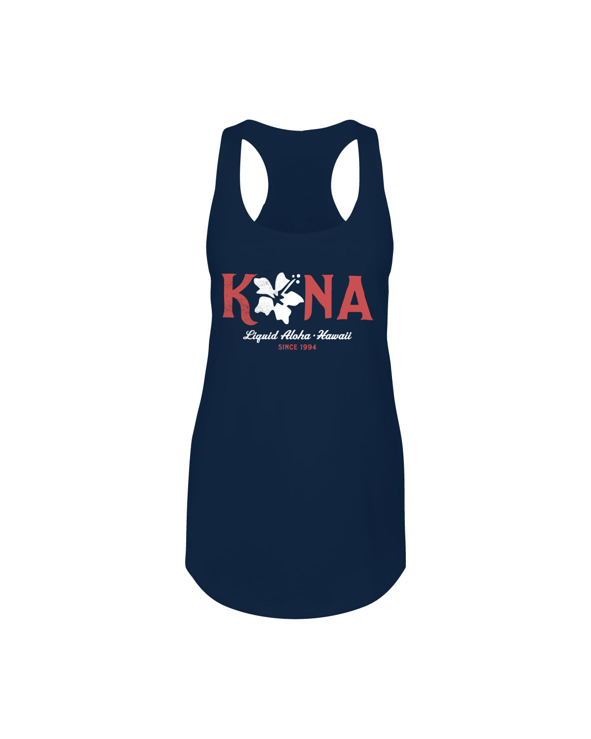 KONA HIBISCUS WOMENS TANK- NAVY - Anderson Bros Design and Supply