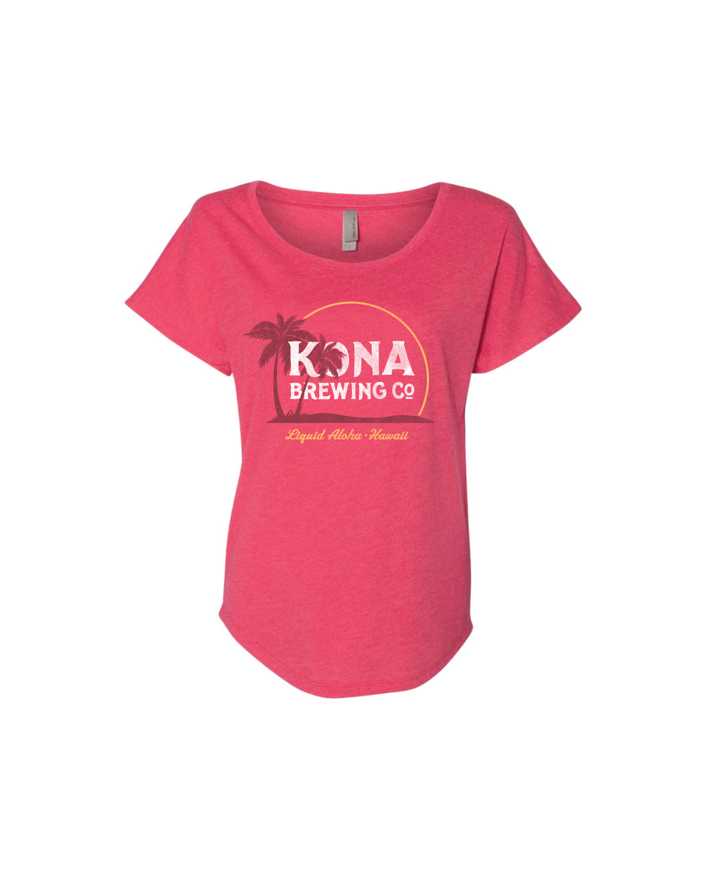 KONA ISLAND SUNSET WOMENS TEE- PINK - Anderson Bros Design and Supply