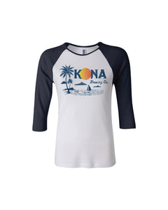 KONA SUNSET RAGLAN- BLACK/WHITE