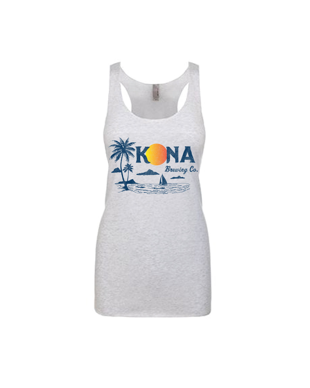 KONA SUNSET WOMENS TANK TOP- TRI BLEND WHITE