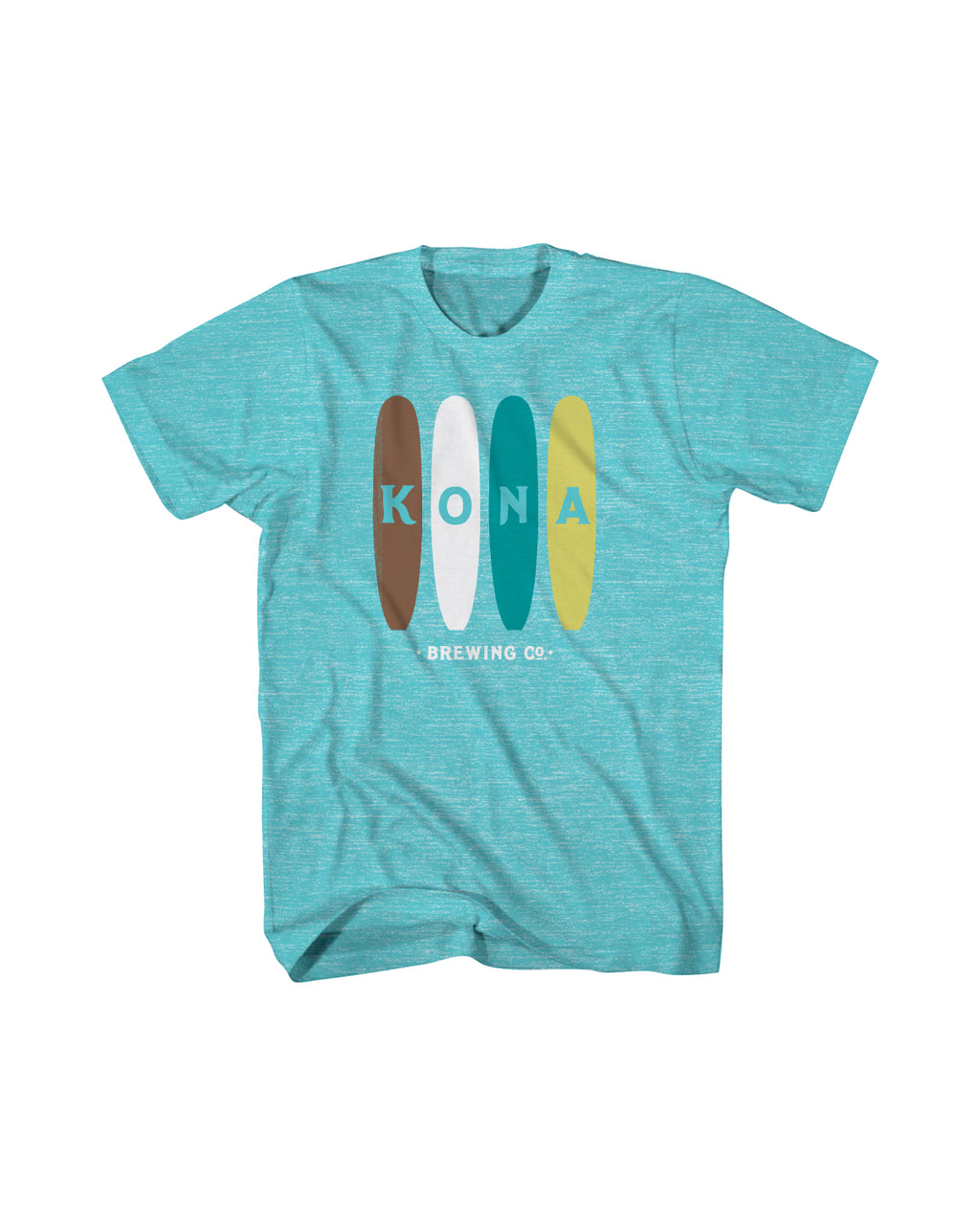 KONA SURF BOARDS MENS TEE- AQUA SNOW