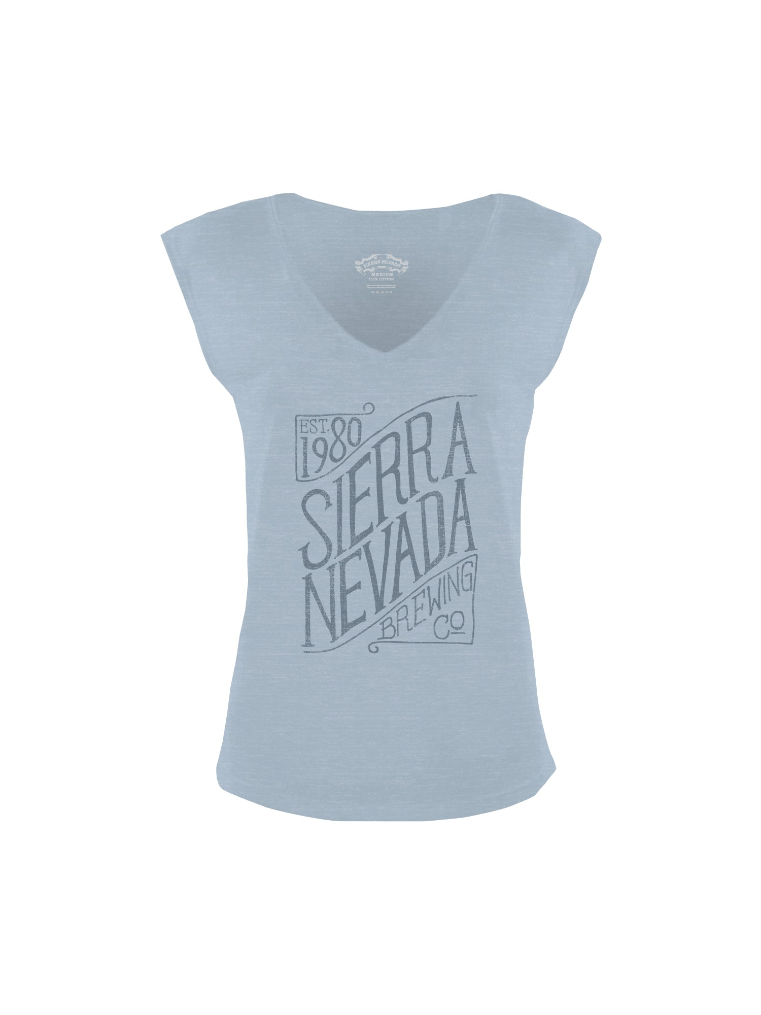 SCRIPT WOMEN VNECK- LIGHT BLUE - Anderson Bros Design and Supply