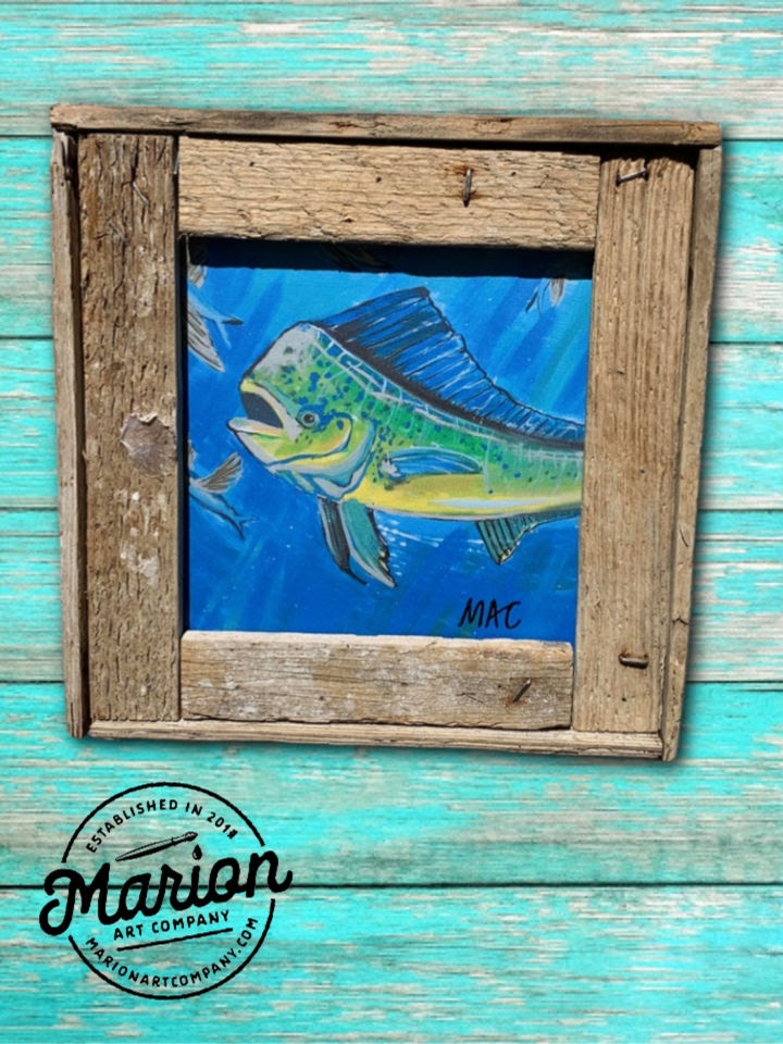 8X8 Sea Life Giclee Rustic Picture Frame Home Office, Living Room, Beach house, Tiki art. Made with real Key West Lobster Trap wood.