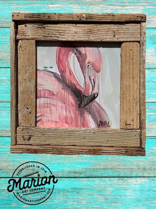8X8 Pink Flamingo Giclee Rustic Picture Frame Home Office, Living Room, Beach house, Tiki art. Made with real Key West Lobster Trap wood.