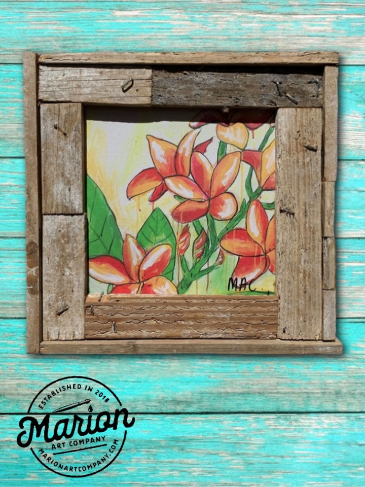 8X8 Flower Giclee Rustic Picture Frame Home Office, Living Room, Beach house, Tiki art. Made with real Key West Lobster Trap wood.