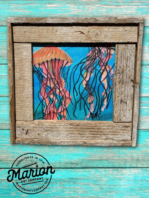 8X8 Jelly Fish Giclee Rustic Picture Frame Home Office, Living Room, Beach house, Tiki art. Made with real Key West Lobster Trap wood.