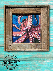 8X8 Octopus Giclee Rustic Picture Frame Home Office, Living Room, Beach house, Tiki art. Made with real Key West Lobster Trap wood.