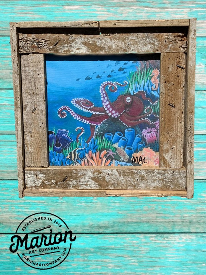 8X8 Octopus Sea Life Giclee Rustic Picture Frame Home Office, Living Room, Beach house, Tiki art. Made with real Key West Lobster Trap wood.