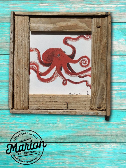 8X8 Red Octopus Giclee Rustic Picture Frame Home Office, Living Room, Beach house, Tiki art. Made with real Key West Lobster Trap wood.
