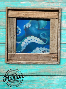 8X8 Blue Octopus Giclee Rustic Picture Frame Home Office, Living Room, Beach house, Tiki art. Made with real Key West Lobster Trap wood.
