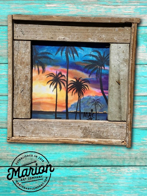8X8 Key West Sunset Giclee Rustic Picture Frame Home Office, Living Room, Beach house, Tiki art. Made with real Key West Lobster Trap wood.