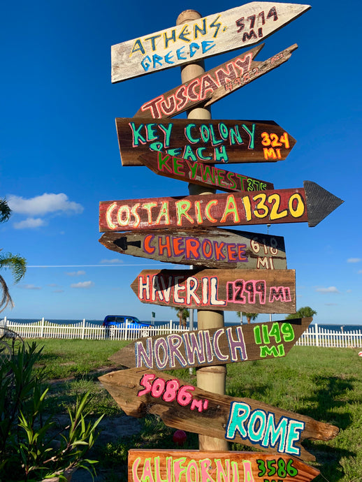Set of 7 Directional Signs . Beach Signs . Tiki Signs . Custom Directional Arrows . Key West Backyard Signs . Pool Signs