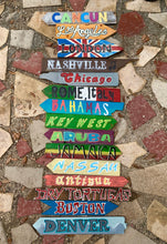 Load image into Gallery viewer, Set of 9 Directional Signs . Beach Signs . Tiki Signs . Custom Directional Arrows . Key West Backyard Signs . Pool Signs