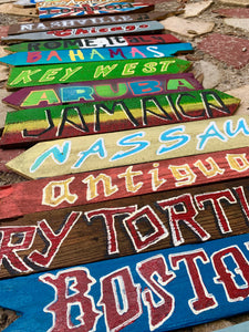 Set of 6 Directional Signs . Beach Signs . Tiki Signs . Custom Directional Arrows . Key West Backyard Signs . Pool Signs