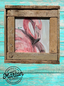 8X8 Flamingo Giclee Rustic Picture Frame, Home Office, Living Room, Beach house art. Made with real Key West Lobster Trap wood.