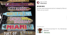 Load image into Gallery viewer, GIFT IDEA ALERT! Directional Destination Tiki Bar Pool Signs. Free Shipping ends 06/31