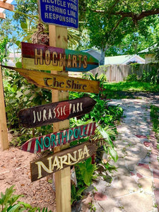 Set of (30) Custom Directional Tiki Sign Decor.Goes  great as an Outdoor Pool Arrow next to your Tiki Bar. 100% Recycled materials.
