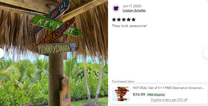 Set of (2) Custom Directional Tiki Sign Decor.Goes  great as an Outdoor Pool Arrow next to your Tiki Bar. Made from 100% Recycled materials.