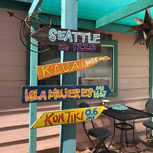 Load image into Gallery viewer, Set of (2) Custom Directional Tiki Sign Decor.Goes  great as an Outdoor Pool Arrow next to your Tiki Bar. Made from 100% Recycled materials.