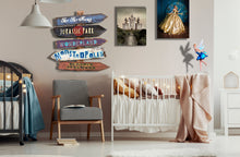 Load image into Gallery viewer, Nursery Fairy Tale Directional Tiki Signs for Baby Room, Kid's Room! Cinderella, Enchanted Jungle Woodland, Harry Potter, Unicorn, Fantasy,