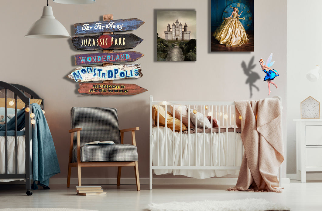 Nursery Fairy Tale Directional Tiki Signs for Baby Room, Kid's Room! Cinderella, Enchanted Jungle Woodland, Harry Potter, Unicorn, Fantasy,