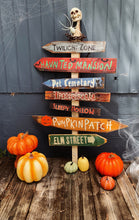 Load image into Gallery viewer, Spooky Trick or Treat Signs! Set of 5+2 FREE Directional Wood Signs . Custom Made to order. Spooky Halloween . Pumpkin Patch Wood Signs