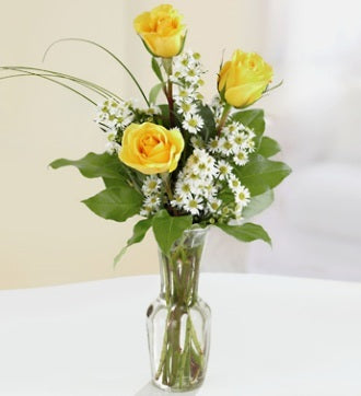 3 Yellow Roses Boquet