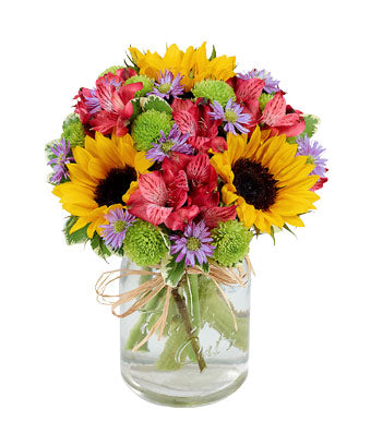 Sunflowers Fields Mason Jar