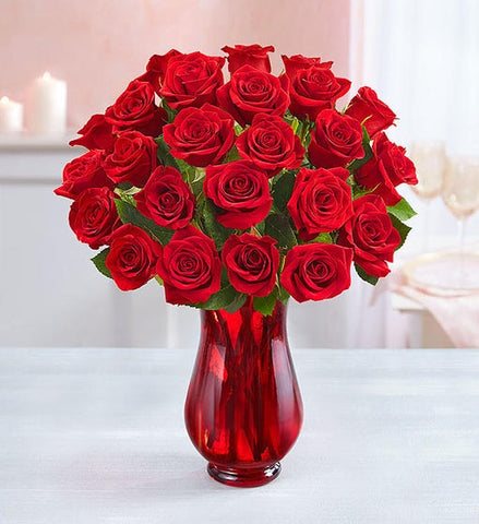 TWO DOZEN RED ROSES WITH RED VASE