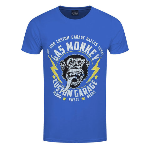 Gas Monkey Garage Lightning Bolts Official Blue T-Shirt