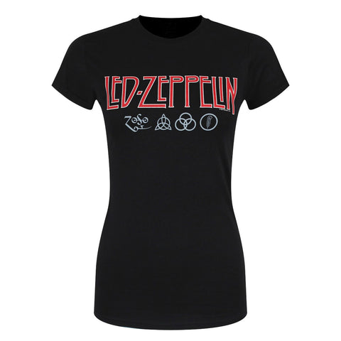 Led Zeppelin Symbols Official Ladies T-Shirt