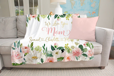 Personalized Mom Blanket With Kids Names For Mother's Day