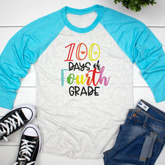 100 Days of Fourth Grade Raglan HUN-043