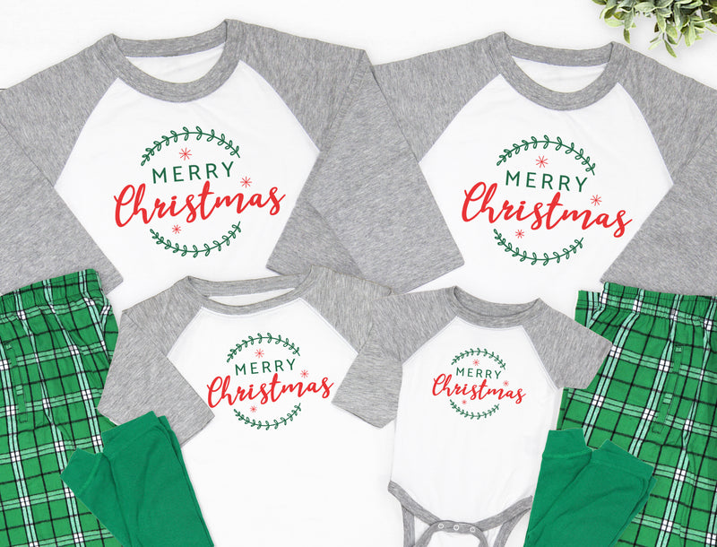Merry Christmas Typography Christmas Pajamas