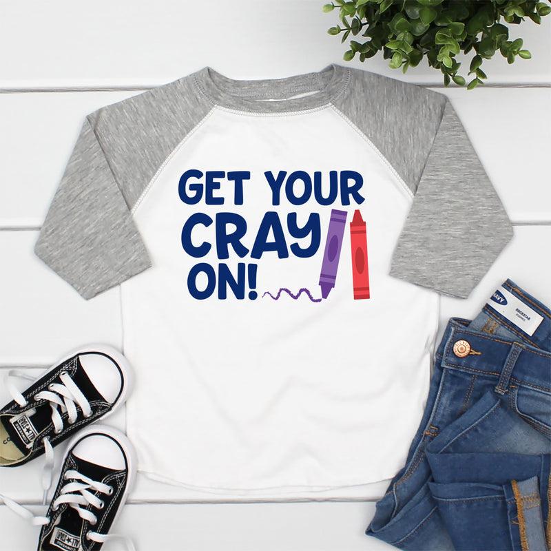 Get Your Cray-On 100 Days of School Raglan HUN-014
