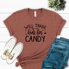 Will Trade Kids for Candy Black Tee HAL-021