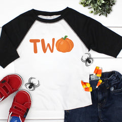Two with Pumpkin Black Raglan HAL-023