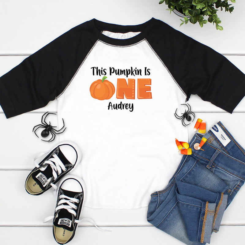 This Pumpkin is One Black Raglan HAL-056
