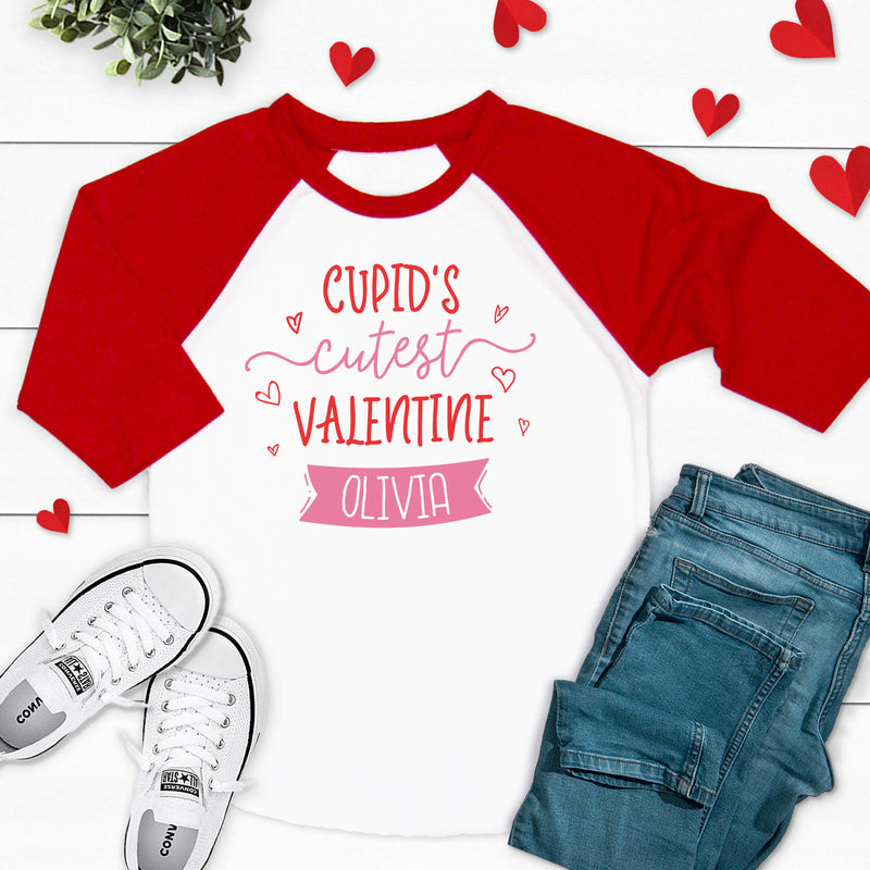 Cupid's Cutest Valentine Raglan Shirt VAL-015