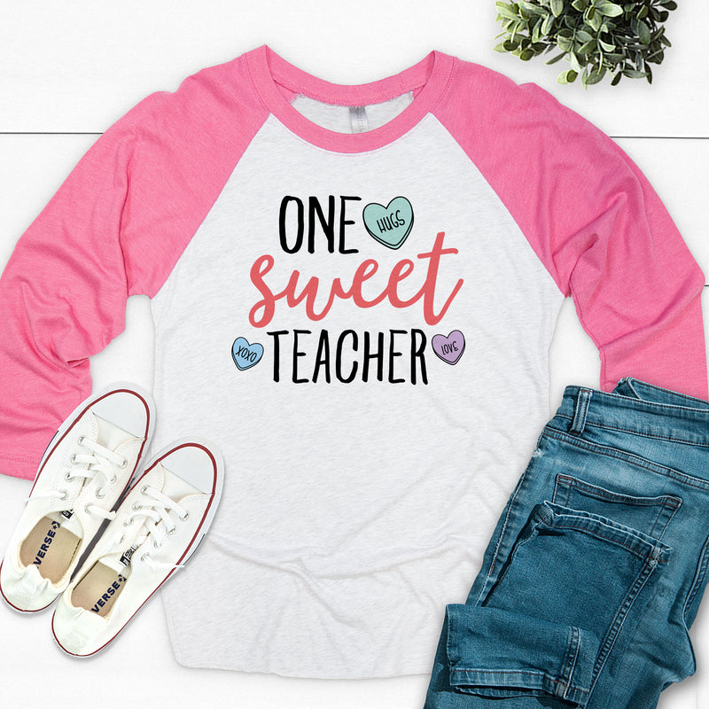 One Sweet Teacher Valentine's Day Raglan VAL-030